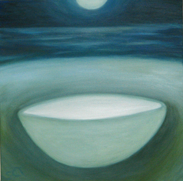 Painting of bowl filled with light, moon above. Oil on Canvas by Susan Cohen Thompson.