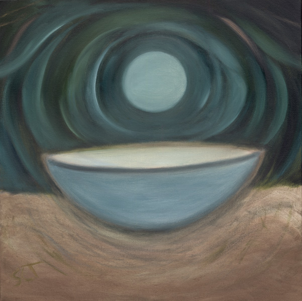 Moon with Bowl, oil painting, 24&quot;x24&quot; by Susan Cohen Thompson