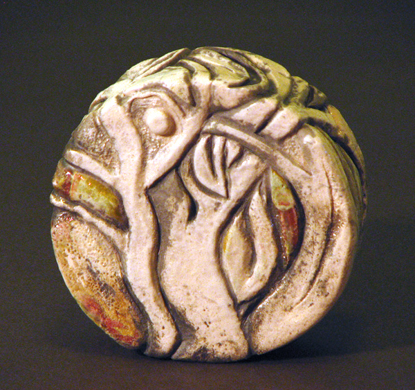 raku hand carved rattle with trees &amp; moon