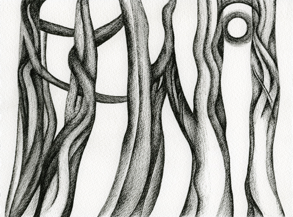 ink drawing, abstract of trees and moon