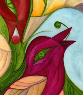 colorful bird painting by Susan Cohen Thompson