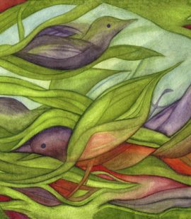 Colorful watercolor painting showing birds, leaves, sky, all interconnected within nest. by Susan Cohen Thompson