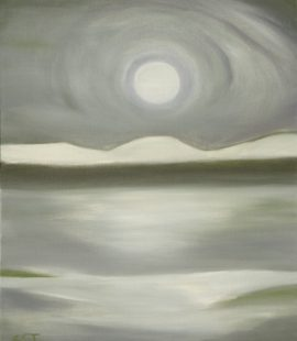 oil on canvas, painting of moon over water, northwest abstract by Susan Cohen Thompson