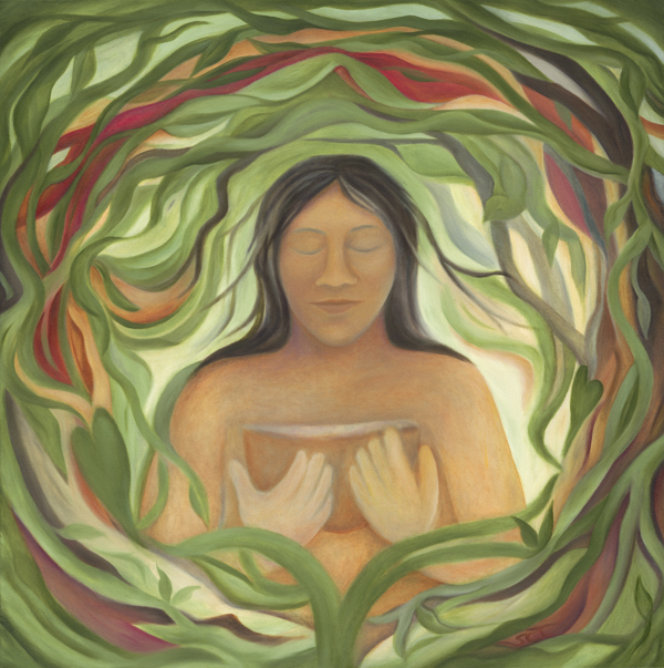 Image of Nunqui, Shuar goddess of the earth, holding a bowl, surrounded by vines.