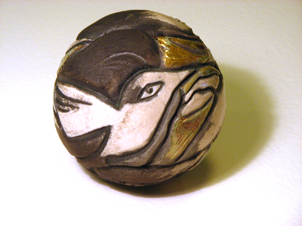 "Ceramic Raku 4"" round carved Bird Rattle by Susan Cohen Thompson"
