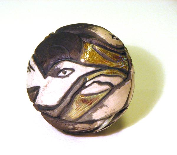 Raku Bird Rattle, hand carved by Susan Cohen Thompson.