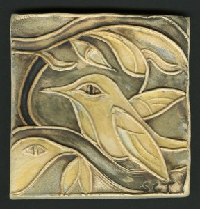 "4""x4"" handmade ceramic tile with hummingbird motif"