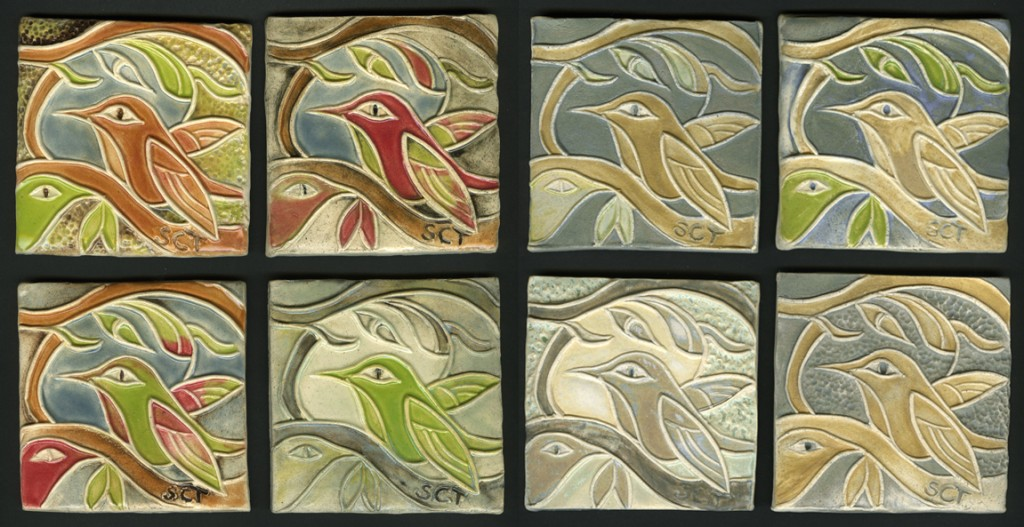 handmade ceramic tiles with hummingbird motif