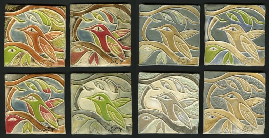 handmade ceramic tiles with hummingbird motif