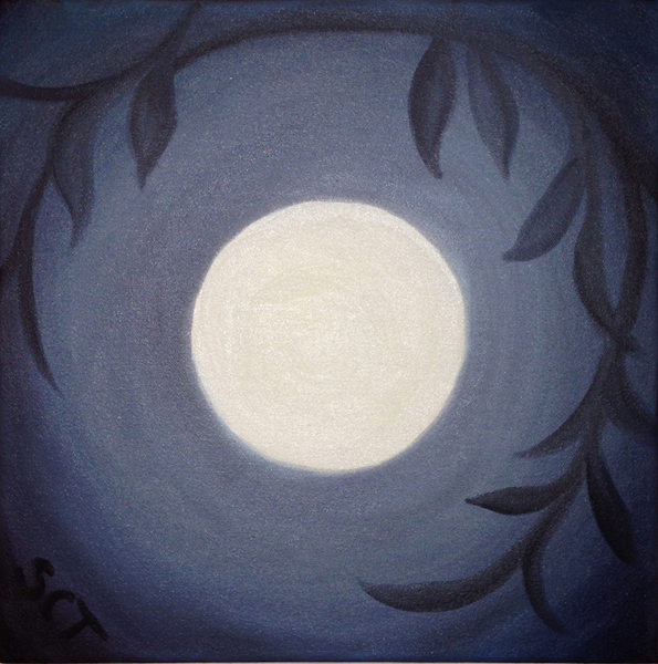 oil painting with full moon in center